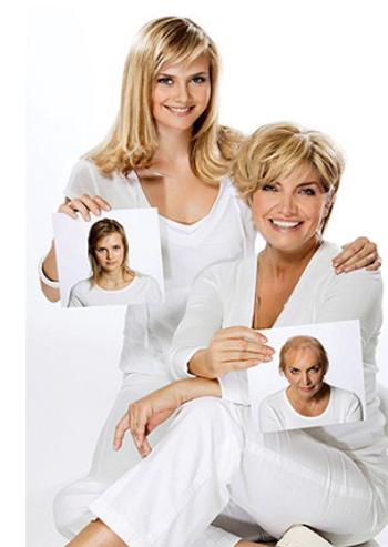 Mutter und Tochter mit Hairdreams Haarverdichtung